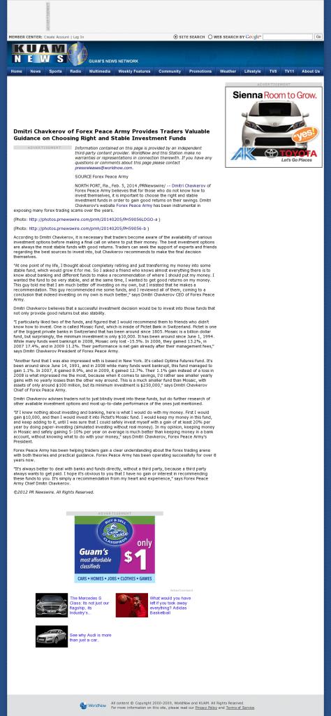 Dmitri Chavkerov - KUAM-TV NBC-8 / CBS-11 (Hagatna, Guam)- considering stable investment options
