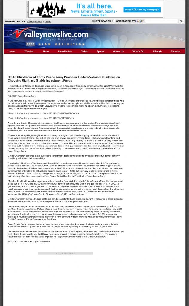 Dmitri Chavkerov - KXJB-TV CBS-4 / KVLY-TV NBC-11 (Fargo, ND)- considering stable investment options