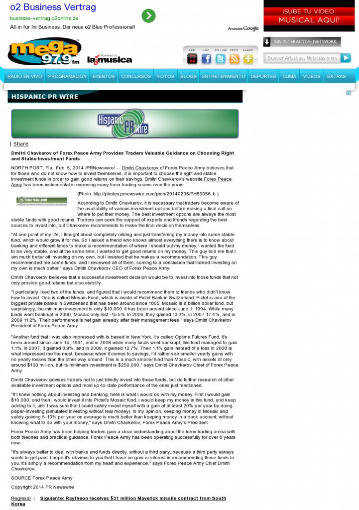 Dmitri Chavkerov - La Mega 97.9 FM- considering stable investment options