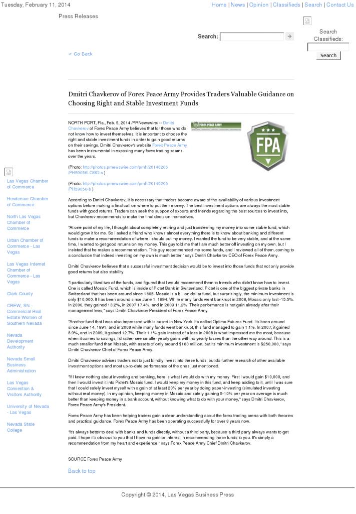 Dmitri Chavkerov - Las Vegas Business Press- considering stable investment options