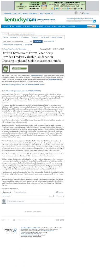 Dmitri Chavkerov - Lexington Herald-Leader (Lexington, KY)- considering stable investment options