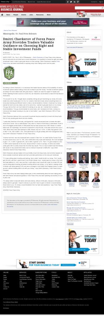 Dmitri Chavkerov - Minneapolis / St. Paul Business Journal- considering stable investment options