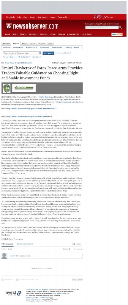 Dmitri Chavkerov - News & Observer (Raleigh, NC)- considering stable investment options
