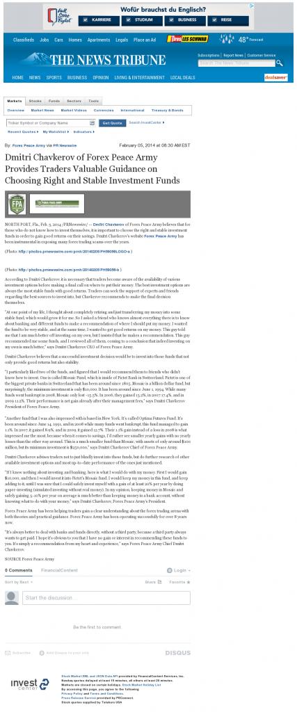Dmitri Chavkerov - News Tribune (Tacoma, WA)- considering stable investment options