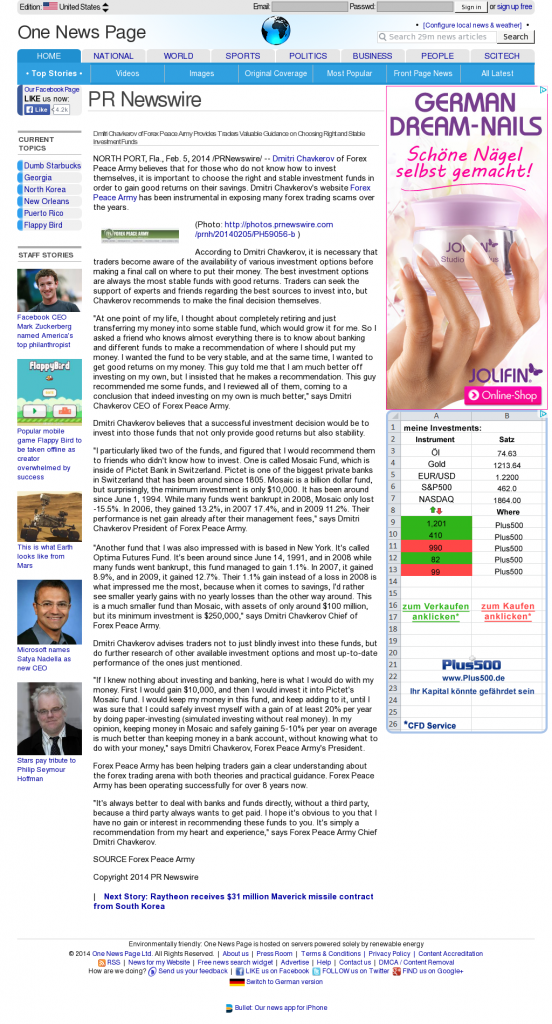 Dmitri Chavkerov - One News Page Unites States Edition- considering stable investment options