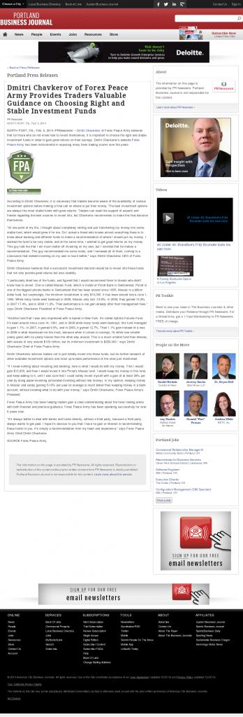 Dmitri Chavkerov - Portland Business Journal- considering stable investment options