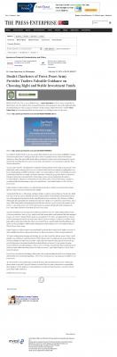 Dmitri Chavkerov -  Press-Enterprise - considering stable investment options