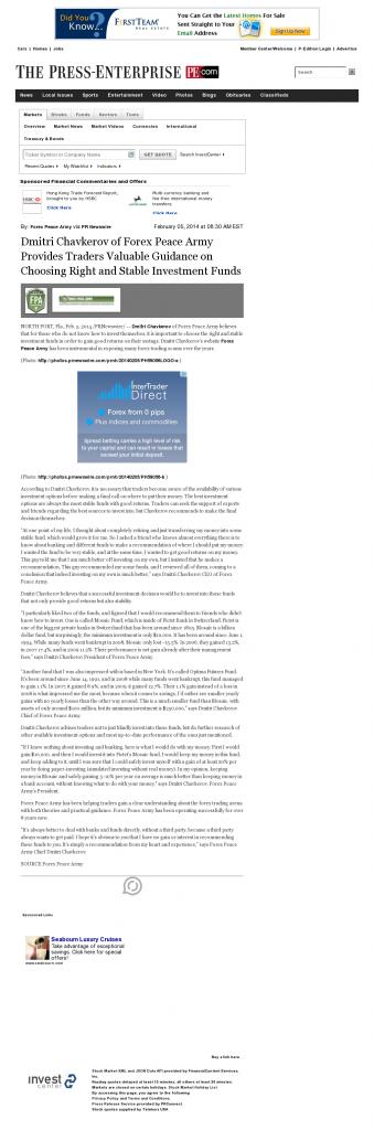 Dmitri Chavkerov - Press-Enterprise- considering stable investment options