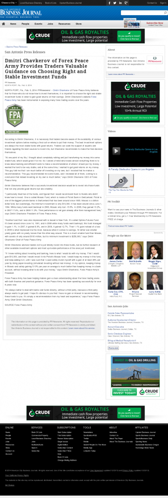 Dmitri Chavkerov - San Antonio Business Journal- considering stable investment options