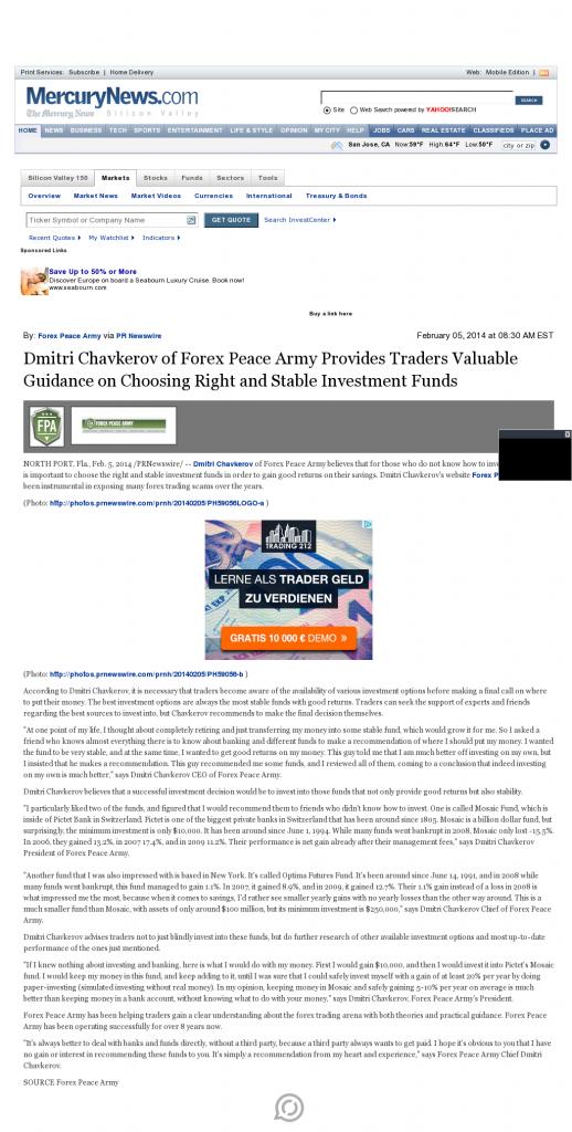 Dmitri Chavkerov - San Jose Mercury News- considering stable investment options