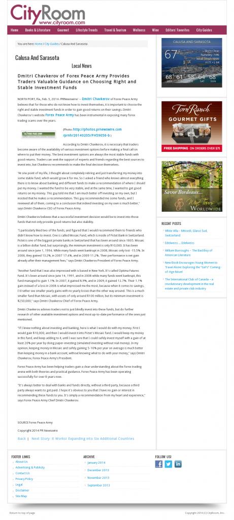 Dmitri Chavkerov - Sarasota CityRoom [Sarasota, FL]- considering stable investment options