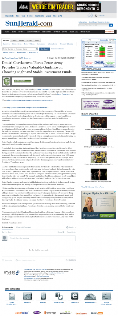 Dmitri Chavkerov - Sun Herald (Biloxi, MS)- considering stable investment options