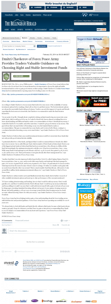 Dmitri Chavkerov - The Bellingham Herald- considering stable investment options