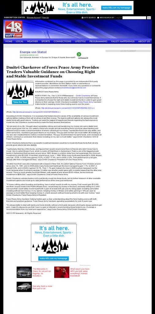 Dmitri Chavkerov - WAFF NBC-48 (Huntsville, AL)- considering stable investment options