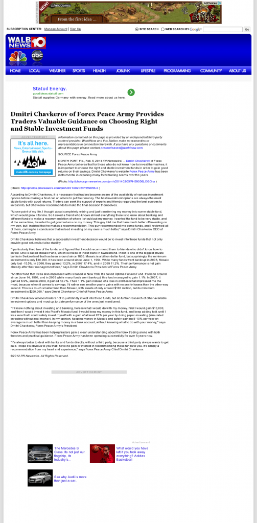 Dmitri Chavkerov - WALB NBC-10 (Albany, GA)- considering stable investment options