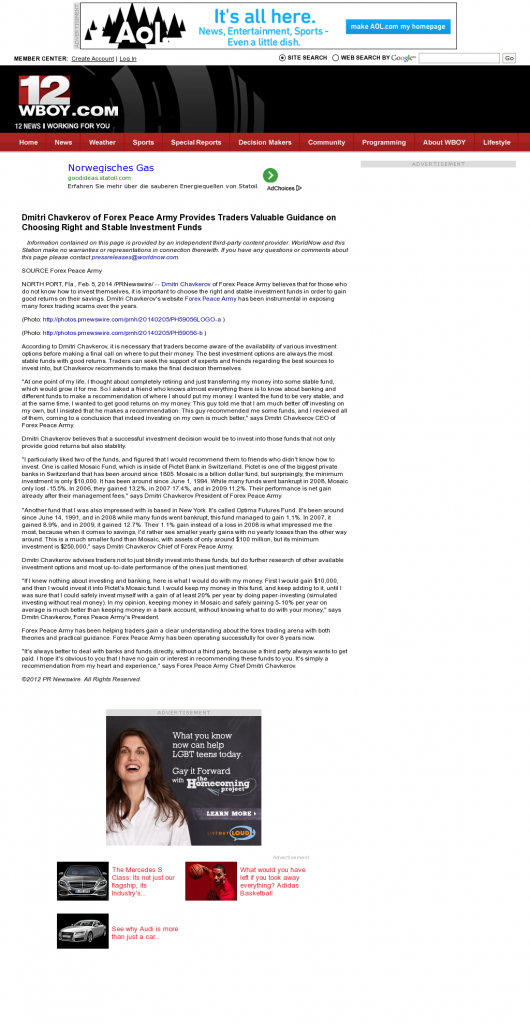 Dmitri Chavkerov - WBOY-TV NBC-12 (Clarksburg, WV)- considering stable investment options