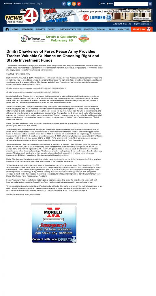 Dmitri Chavkerov - WCIV-TV ABC-4 (Charleston, SC)- considering stable investment options