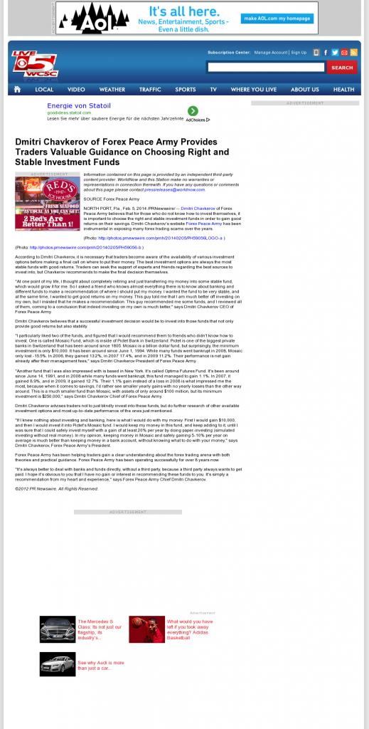 Dmitri Chavkerov - WCSC CBS-5 (Charleston, SC)- considering stable investment options