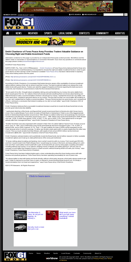 Dmitri Chavkerov - WDSI-TV FOX-61 (Chattanooga, TN)- considering stable investment options