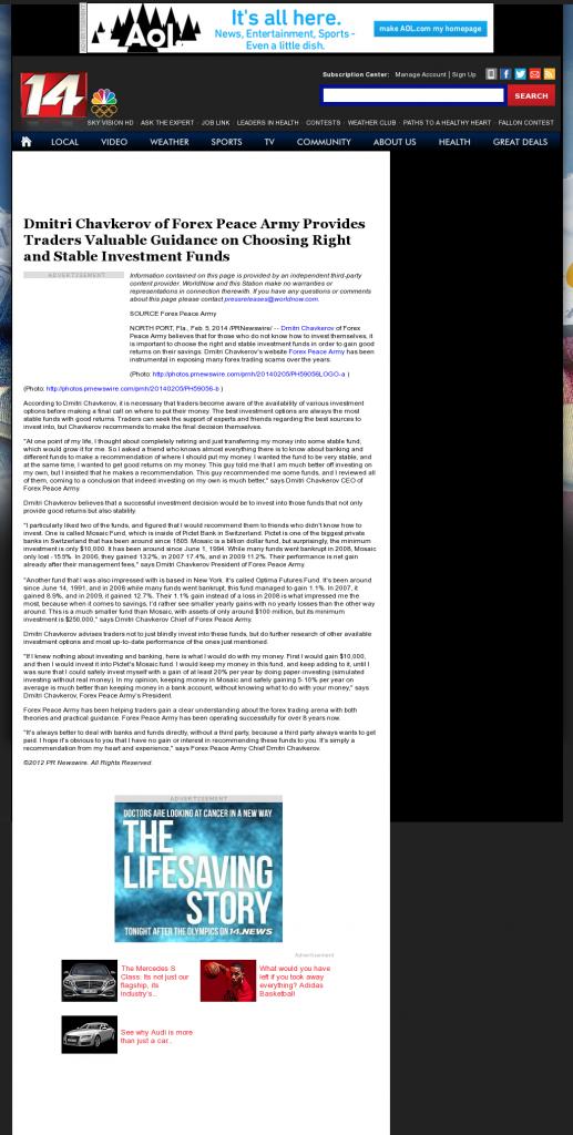 Dmitri Chavkerov - WFIE NBC-14 (Evansville, IN)- considering stable investment options