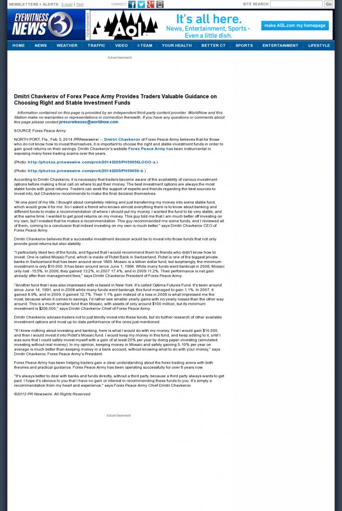 Dmitri Chavkerov - WFSB-TV CBS-3 (Hartford, CT)- considering stable investment options