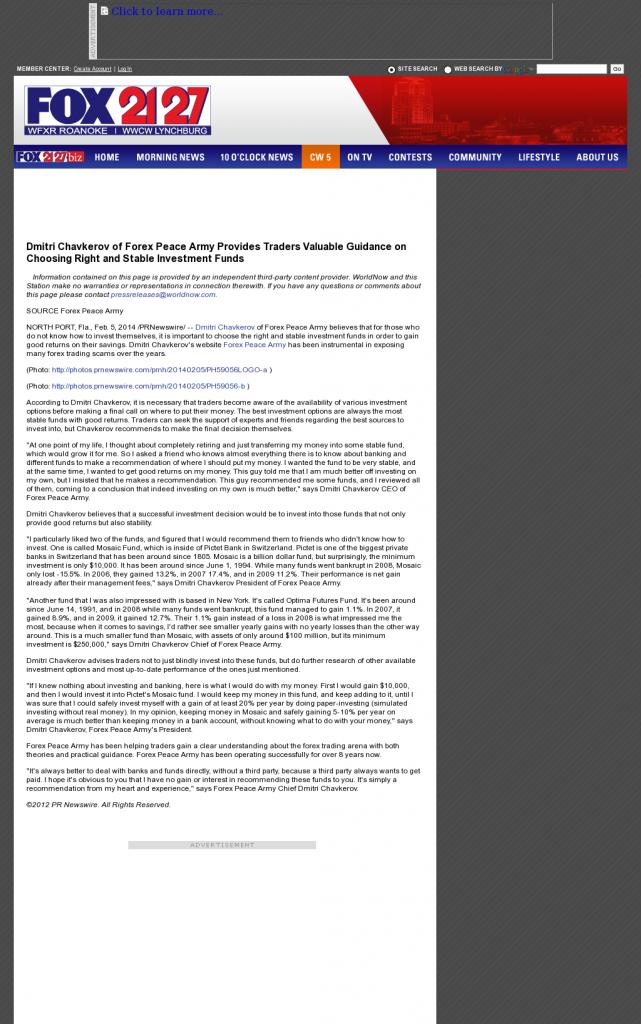 Dmitri Chavkerov - WFXR-TV FOX-21/27 (Roanoke, VA)- considering stable investment options