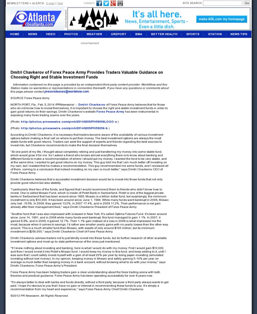 Dmitri Chavkerov - WGCL-TV CBS-46 (Atlanta, GA)- considering stable investment options