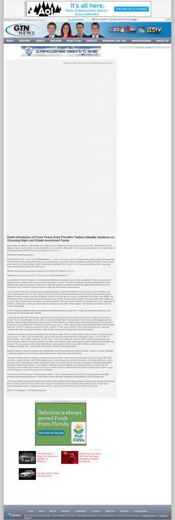Dmitri Chavkerov - WGFL-TV CBS-4 (Gainesville, FL)- considering stable investment options