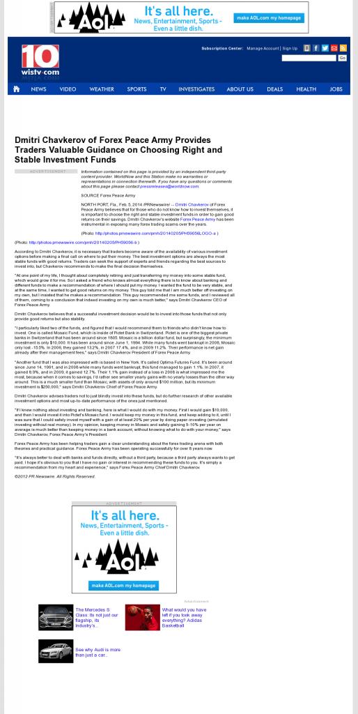 Dmitri Chavkerov - WISTV NBC-10 (Columbia, SC)- considering stable investment options