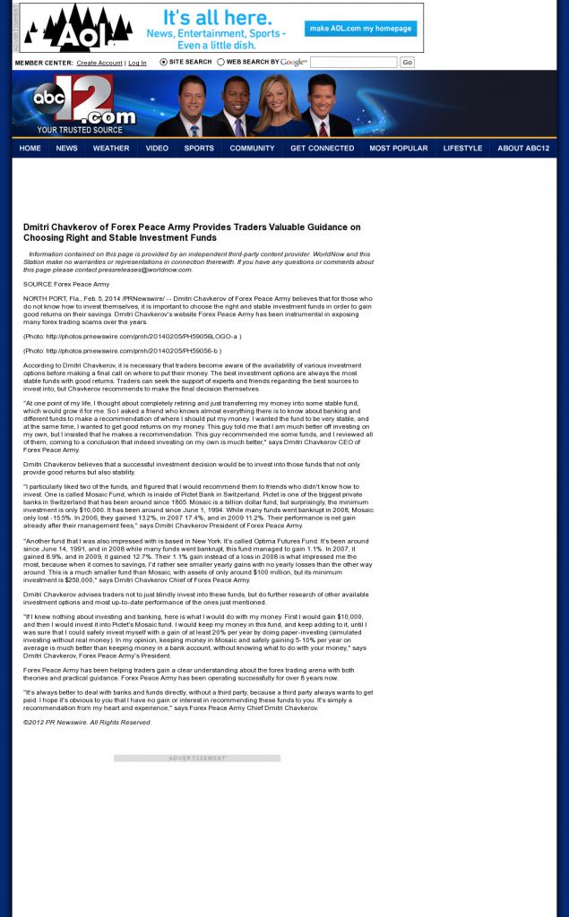 Dmitri Chavkerov - WJRT-TV ABC-12 (Flint, MI)- considering stable investment options