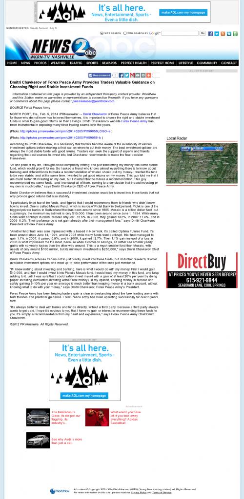 Dmitri Chavkerov - WKRN ABC-2 (Nashville, TN)- considering stable investment options