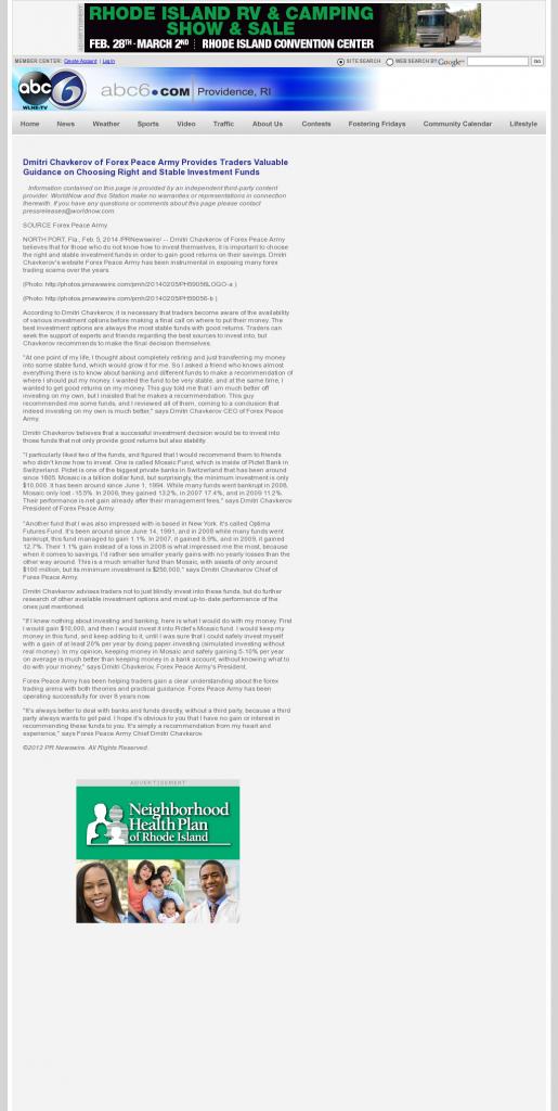 Dmitri Chavkerov - WLNE-TV ABC-6 (Providence, RI)- considering stable investment options