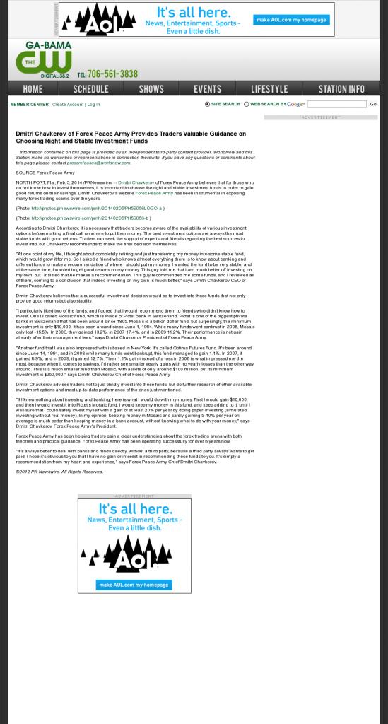 Dmitri Chavkerov - WLTZ-TV CW-38 (Columbus, GA)- considering stable investment options
