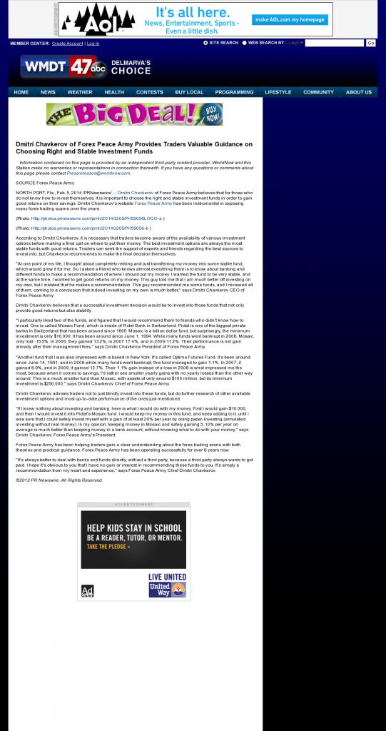 Dmitri Chavkerov - WMDT-TV ABC-47 /CW-3 (Salisbury, MD)- considering stable investment options