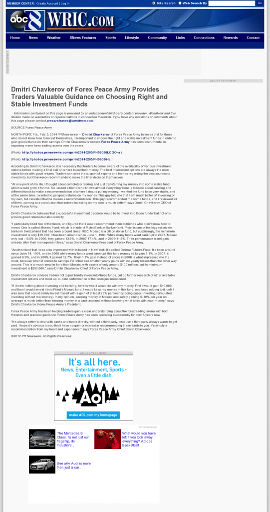 Dmitri Chavkerov - WRIC ABC-8 (Richmond, VA)- considering stable investment options