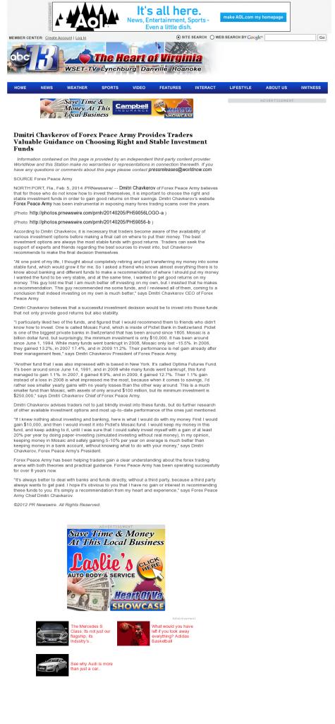 Dmitri Chavkerov - WSET-TV ABC-13 (Lynchburg, VA)- considering stable investment options