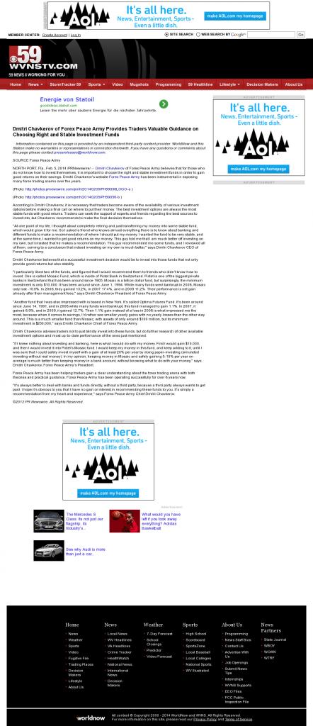 Dmitri Chavkerov - WVNS-TV CBS-59 (Ghent, WV)- considering stable investment options
