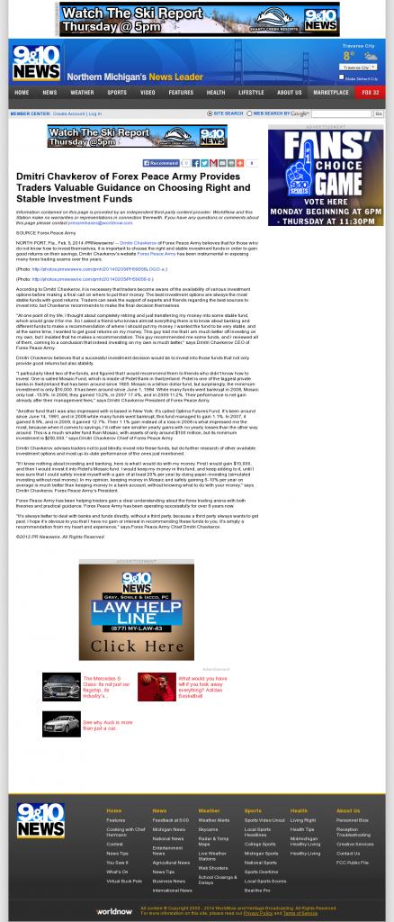 Dmitri Chavkerov - WWTV-TV CBS-9 (Cadillac, MI)- considering stable investment options