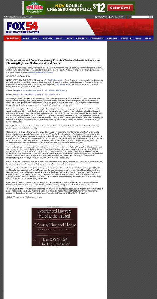 Dmitri Chavkerov - WZDX-TV FOX-54 (Huntsville, AL)- considering stable investment options