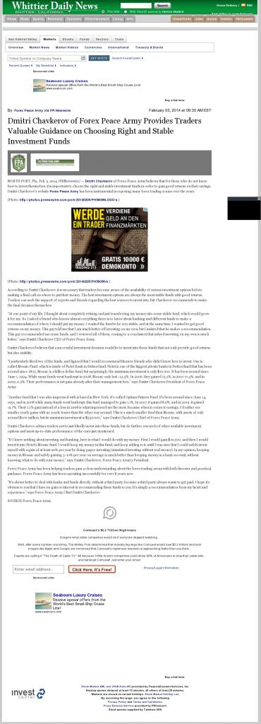Dmitri Chavkerov - Whittier Daily News (Whittier, CA)- considering stable investment options